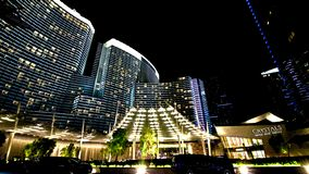 Night view from the front of Aria Resort stock images