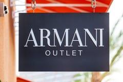 LAS VEGAS NEVADA, Sierpień, - 22nd, 2016: Armani ujścia logo Na Sto Zdjęcie Royalty Free