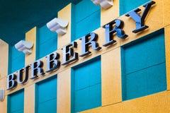 LAS VEGAS NEVADA, Sierpień, - 22nd, 2016: Burberry logo Na sklepie Fr obrazy royalty free