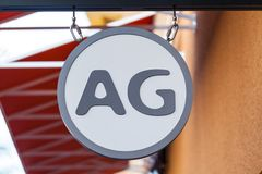LAS VEGAS NEVADA, Sierpień, - 22nd, 2016: AG logo Na sklepu przodzie Si Obraz Royalty Free