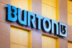 LAS VEGAS NEVADA, Sierpień, - 22nd, 2016: Burton logo Na sklepie Fron Zdjęcie Stock