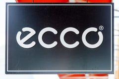 LAS VEGAS NEVADA, Sierpień, - 22nd, 2016: Ecco logo Na sklepu przodzie Obraz Royalty Free