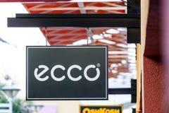 LAS VEGAS NEVADA, Sierpień, - 22nd, 2016: Ecco logo Na sklepu przodzie Zdjęcie Royalty Free