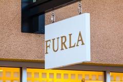 LAS VEGAS NEVADA, Sierpień, - 22nd, 2016: Furla logo Na sklepu przodzie Obrazy Royalty Free