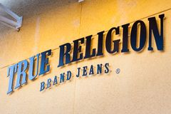 LAS VEGAS NEVADA, Sierpień, - 22nd, 2016: Prawdziwy religia logo Na Sto Zdjęcia Royalty Free