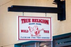 LAS VEGAS NEVADA, Sierpień, - 22nd, 2016: Prawdziwy religia logo Na Sto Obraz Stock