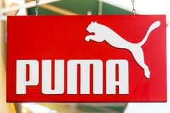 LAS VEGAS NEVADA, Sierpień, - 22nd, 2016: Puma logo Na sklepu przodzie Zdjęcia Royalty Free