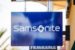 LAS VEGAS NEVADA, Sierpień, - 22nd, 2016: Samsonite logo Na sklepie F Zdjęcia Royalty Free