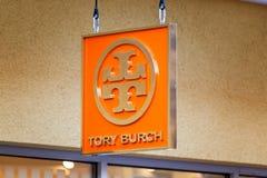 LAS VEGAS NEVADA, Sierpień, - 22nd, 2016: Torysowski Burch logo Na sklepie Zdjęcie Stock
