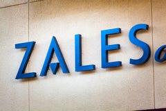 LAS VEGAS NEVADA, Sierpień, - 22nd, 2016: Zales logo Na sklepu przodzie Obraz Stock