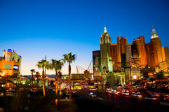 Las Vegas, Nevada Skyline. Beautiful orange, red and yellow tones reflect on the Las Vegas Strip Royalty Free Stock Photo
