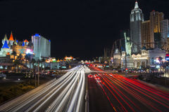 Las Vegas, Nevada, United States - January 2015: Car trails on the Strip in Las Vegas Royalty Free Stock Images