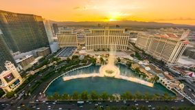 Las Vegas Bellagio sunset. Las Vegas, Nevada, United States - September 24, 2018: Bellagio Casino dancing fountains at sunset show from Eiffel Tower of The Paris royalty free stock image
