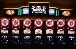 LAS VEGAS NEVADA, USA - AUGUST 18. 2009: View on vintage slot machines Spin and Win in a Casino stock image