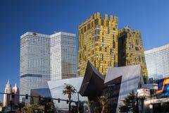 Las Vegas NEVADA/USA - AUGUSTI 1: Sikt på soluppgång av byggnader Fotografering för Bildbyråer