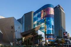 Las Vegas NEVADA/USA - AUGUSTI 1: Sikt på soluppgång av byggnader Royaltyfri Bild