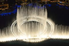 Las Vegas, Nevada, USA - January 23, 2016: View of Bellagio Fountain Show from Eiffel Tower Paris Las Vegas. The Las Vegas Strip is a stretch of South Las Vegas royalty free stock photography