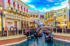 Las Vegas, Nevada USA - Juli 28 2016 det Venetian semesterorthotellet och kasinot, gondoljär Royaltyfria Foton