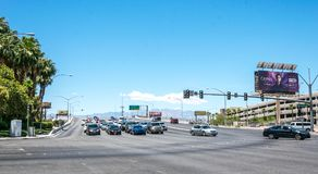 Car tourist traffic on the streets of Las Vegas. Tourist trip to Nevada, USA royalty free stock image
