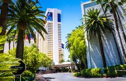 Architecture of Las Vegas. Casino and luxury hotels. Las Vegas, Nevada, USA - June 18, 2017: Treasure Island Hotel and Casino and Grand Canal Shoppes at The Royalty Free Stock Images
