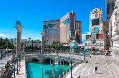 Venetian and Treasure Island, Luxurious casino and hotel. Las Vegas, Nevada, USA - June 18, 2017: Treasure Island Hotel and  Casino and Grand Canal Shoppes at Stock Images