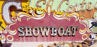 Las Vegas, Nevada/USA: May 12 2018- A Vintage Casino Sign at th. Las Vegas, Nevada/USA: May 12 2018- Showboat Vintage Casino Sign at the Neon Museum royalty free stock photography