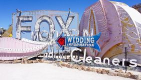 Las Vegas, Nevada/USA: May 12 2018- A Vintage Casino Sign at th. Las Vegas, Nevada/USA: May 12 2018- Fox, Wedding Information and Cleaners Vintage Casino Signs stock image