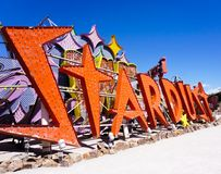 Las Vegas, Nevada/USA: May 12 2018- A Vintage Casino Sign at th. Las Vegas, Nevada/USA: May 12 2018- Stardust Vintage Casino Sign at the Neon Museum stock photo