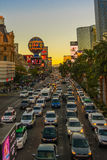 LAS VEGAS NEVADA, USA - November 2016: Traffic on S. Las Vegas Blvd at sunset. Stock Photography
