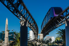 LAS VEGAS NEVADA, USA - November 2016: View of the Las Vegas Monorail from the Mandalay Bay Stock Photo