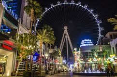 The Linq. Las Vegas, Nevada. LAS VEGAS, NEVADA, USA- NOVEMBER 15, 2017: View of The Linq Resort and Casino with the High Roller at night in Las vegas, Nevada royalty free stock photography