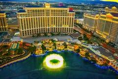 Casino, hotel and resort-Bellagio. Las Vegas. Las Vegas, Nevada, USA - September 17, 2018: Main street of Las Vegas-is the Strip in evening time. Casino, hotel stock photography