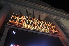 Las Vegas New York New York ingångsSignage Arkivbild