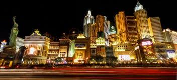 Las Vegas New York nya Yourk på natten Nevada USA Arkivfoto