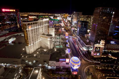 Las Vegas at night. A view down the famous Las Vegas Blvd at night. Some of the Casino in the picture include Planet Hollywood, MGM Grand, Bellagio, Luxar, New royalty free stock photo