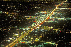 Las Vegas at night from air, NV Stock Photography