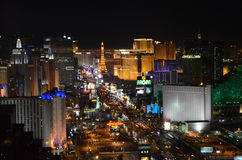Las Vegas by night - bird eye view. Las Vegas from above, you can see MGM, Eiffel Tower, The Strip Royalty Free Stock Photos