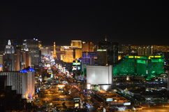 Las Vegas by night - bird eye view. Las Vegas from above, you can see MGM, Eiffel Tower, The Strip Stock Image