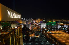 Las Vegas by night - bird eye view. Las Vegas from above, you can see MGM, Eiffel Tower, The Strip Stock Photo
