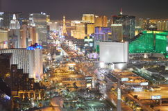 Las Vegas by night - bird eye view. Las Vegas from above, you can see MGM, Eiffel Tower, The Strip Stock Photos