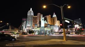 Las Vegas Night. Editorial time lapse clip of heavy night traffic at New York - New York and other resorts on the Las Vegas strip stock footage
