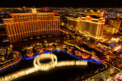 Las Vegas night. Fountains and hotels on Las Vegas strip at night Royalty Free Stock Photos