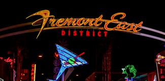FREMONT EAST Las Vegas by night. stock images
