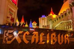 EXCALIBUR, Las Vegas by night. Royalty Free Stock Image