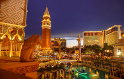 Venetian Casino in Las Vegas by night. royalty free stock photography