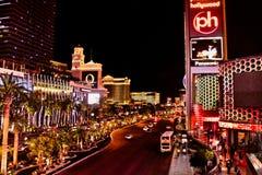Las Vegas at night. View of the Las Vegas skyline at night stock image