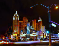Las Vegas Nightlife. Nightlife in the Las Vegas City.  Statue of Liberty, New York - New York Hotel and Casino, Nevada Stock Images