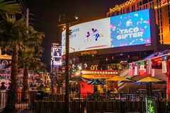 LAS VEGAS - November 11, 2020, view of the Las Vegas Strip, street lit with multi-colored lights, city at night, the