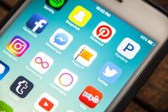 LAS VEGAS, NV - 26,2016 augusti: Fuoco selettivo Apple i di scenetta Immagine Stock Libera da Diritti