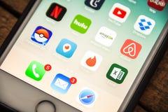 LAS VEGAS, NV - 26,2016 Augustus: Vignet Selectieve Nadruk Apple i Stock Foto's
